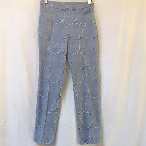 AKRIS PUNTO Pants Blue White 10 Sided Pattern 4